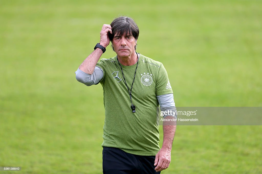 <a gi-track='captionPersonalityLinkClicked' href=/galleries/search?phrase=Joachim+Loew&family=editorial&specificpeople=215315 ng-click='$event.stopPropagation()'>Joachim Loew</a>, head coach of the German national team looks on during a training session at Stadio communale on day 8 of the German national team trainings camp on May 31, 2016 in Ascona, Switzerland.