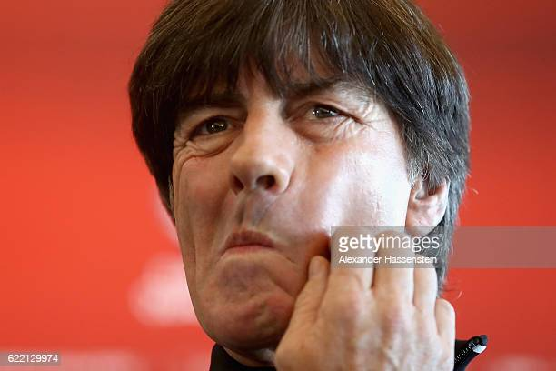 Joachim Loew head coach of the German national team looks on during a press conference of the German national team ahead of the FIFA 2018 World Cup...
