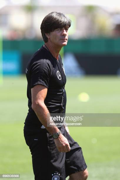 Joachim Loew head coach of the German national team looks on during a training session at Park Arena training ground on June 16 2017 in Sochi Russia