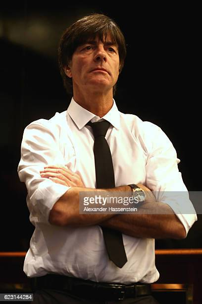 Joachim Loew head coach of the German national team looks on prior to a press conference of the German national team ahead of the international...