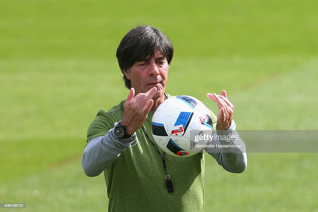 <a gi-track='captionPersonalityLinkClicked' href=/galleries/search?phrase=Joachim+Loew&family=editorial&specificpeople=215315 ng-click='$event.stopPropagation()'>Joachim Loew</a>, head coach of the German national team plays with the ball during a training session at Stadio communale on day 8 of the German national team trainings camp on May 31, 2016 in Ascona, Switzerland.