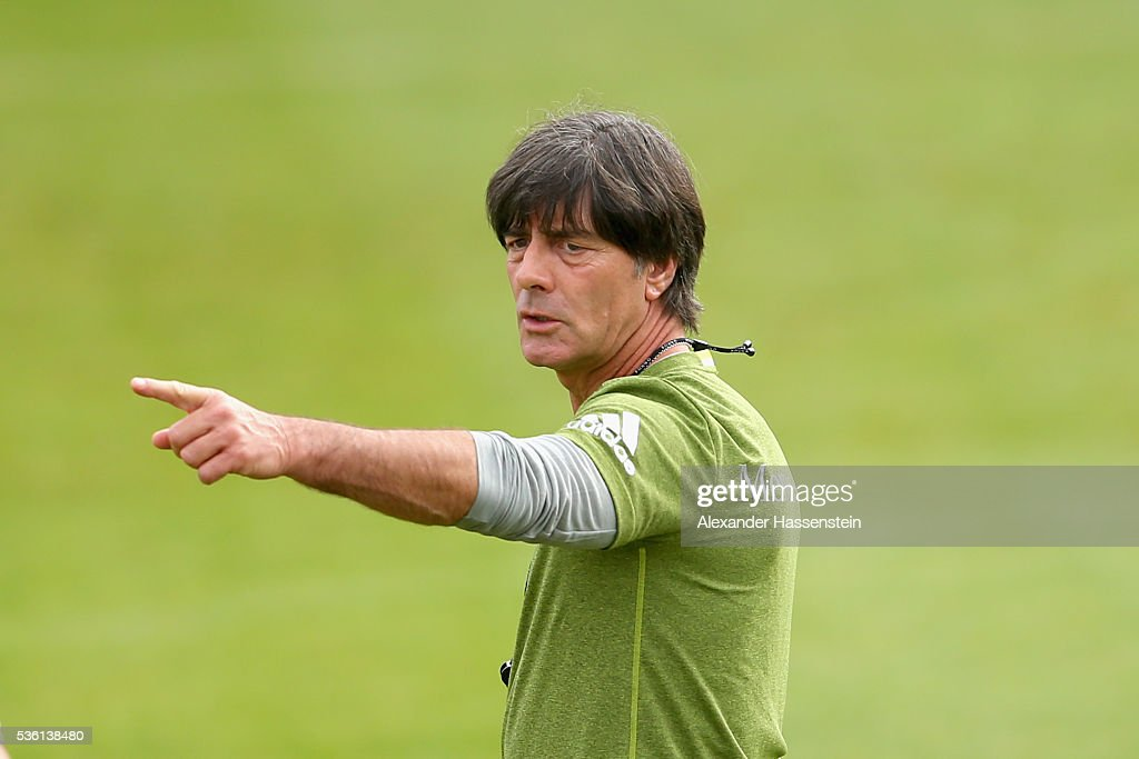<a gi-track='captionPersonalityLinkClicked' href=/galleries/search?phrase=Joachim+Loew&family=editorial&specificpeople=215315 ng-click='$event.stopPropagation()'>Joachim Loew</a>, head coach of the German national team reacts during a training session at Stadio communale on day 8 of the German national team trainings camp on May 31, 2016 in Ascona, Switzerland.