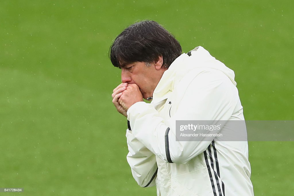 Joachim Loew, head coach of the German national team reacts during a team Germany training session ahead of the UEFA EURO 2016 Group C match between Northern Ireland and Germany at Stade Parc de Princes on June 20, 2016 in Paris, France.