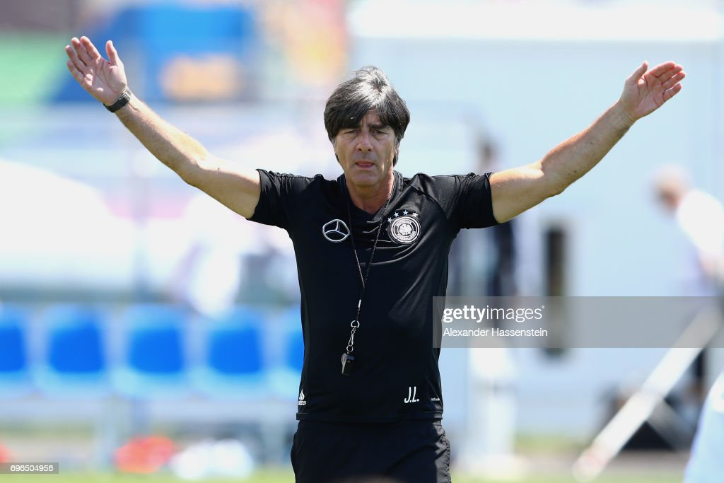Joachim Loew, head coach of the German national team reacts during a training session at Park Arena training ground on June 16, 2017 in Sochi, Russia.