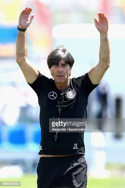 Joachim Loew head coach of the German national team reacts during a training session at Park Arena training ground on June 16 2017 in Sochi Russia