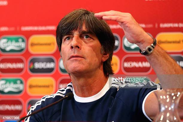 Joachim Loew head coach of the German national team talks to the media during a press conference ahead of their Euro 2016 Qualifier against Gibraltar...