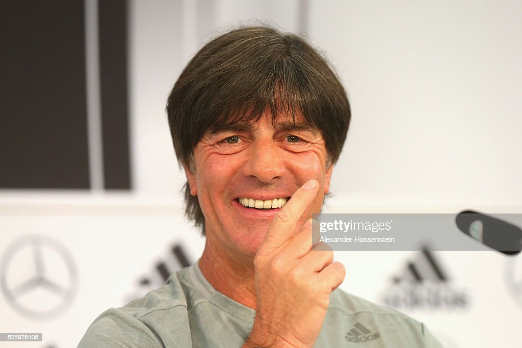 Joachim Loew, head coach of the German national team talks to the media during a press conference on day 8 of the German national team trainings camp on May 31, 2016 in Ascona, Switzerland.