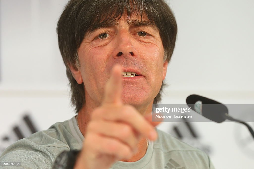 <a gi-track='captionPersonalityLinkClicked' href=/galleries/search?phrase=Joachim+Loew&family=editorial&specificpeople=215315 ng-click='$event.stopPropagation()'>Joachim Loew</a>, head coach of the German national team talks to the media during a press conference on day 8 of the German national team trainings camp on May 31, 2016 in Ascona, Switzerland.