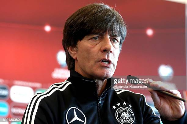 Joachim Loew head coach of the German national team talks to the media during a press conference of the German national team ahead of the FIFA 2018...