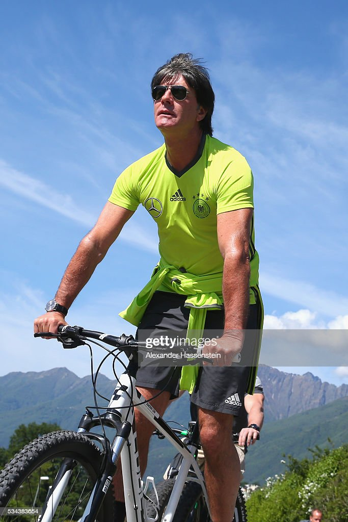 <a gi-track='captionPersonalityLinkClicked' href=/galleries/search?phrase=Joachim+Loew&family=editorial&specificpeople=215315 ng-click='$event.stopPropagation()'>Joachim Loew</a>, head coach of the Germany national team arrives for a training session at stadio communale on day 3 of the German national team trainings camp on May 26, 2016 in Ascona, Switzerland.