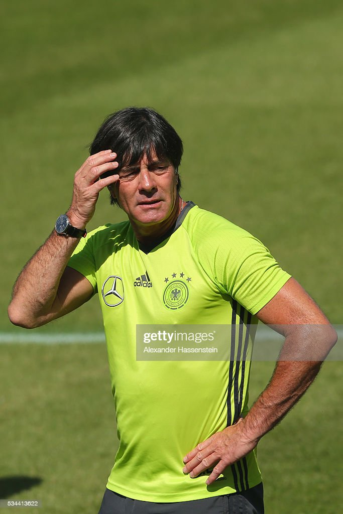 <a gi-track='captionPersonalityLinkClicked' href=/galleries/search?phrase=Joachim+Loew&family=editorial&specificpeople=215315 ng-click='$event.stopPropagation()'>Joachim Loew</a>, head coach of the Germany national team looks on during a training session at stadio communale on day 3 of the German national team trainings camp on May 26, 2016 in Ascona, Switzerland.