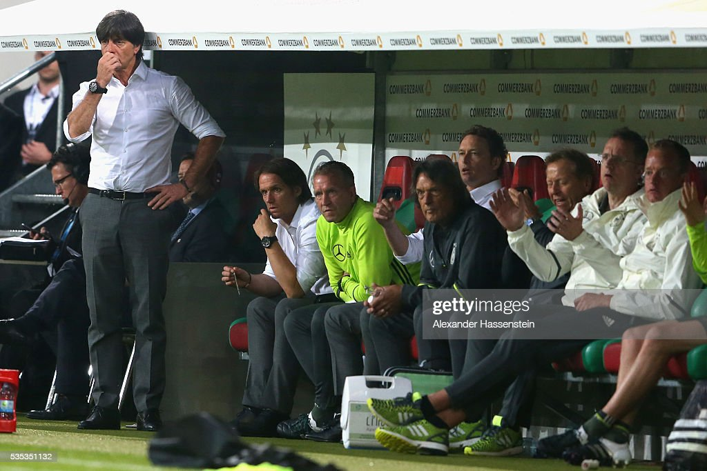 <a gi-track='captionPersonalityLinkClicked' href=/galleries/search?phrase=Joachim+Loew&family=editorial&specificpeople=215315 ng-click='$event.stopPropagation()'>Joachim Loew</a>, head coach of the Germany national team looks on during the international friendly match between Germany and Slovakia at WWK-Arena on May 29, 2016 in Augsburg, Germany.