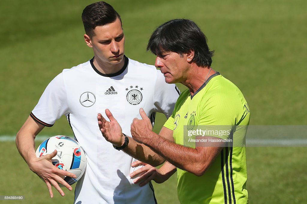 <a gi-track='captionPersonalityLinkClicked' href=/galleries/search?phrase=Joachim+Loew&family=editorial&specificpeople=215315 ng-click='$event.stopPropagation()'>Joachim Loew</a>, head coach of the Germany national team talks to his player <a gi-track='captionPersonalityLinkClicked' href=/galleries/search?phrase=Julian+Draxler&family=editorial&specificpeople=7184479 ng-click='$event.stopPropagation()'>Julian Draxler</a> during a training session at stadio communale on day 3 of the German national team trainings camp on May 26, 2016 in Ascona, Switzerland.