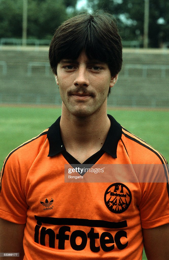 <a gi-track='captionPersonalityLinkClicked' href=/galleries/search?phrase=Joachim+Loew&family=editorial&specificpeople=215315 ng-click='$event.stopPropagation()'>Joachim Loew</a> of Eintracht Frankfurt poses during a photocall of the Bundesliga club Eintracht Frankfurt on July 10, 1981 in Frankfurt, Germany.