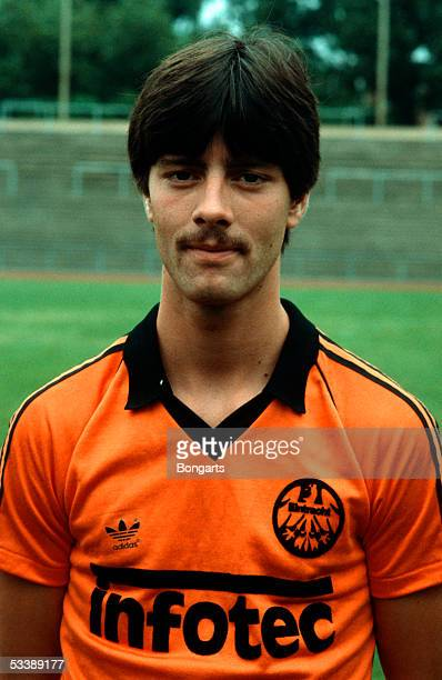 Joachim Loew of Eintracht Frankfurt poses during a photocall of the Bundesliga club Eintracht Frankfurt on July 10 1981 in Frankfurt Germany