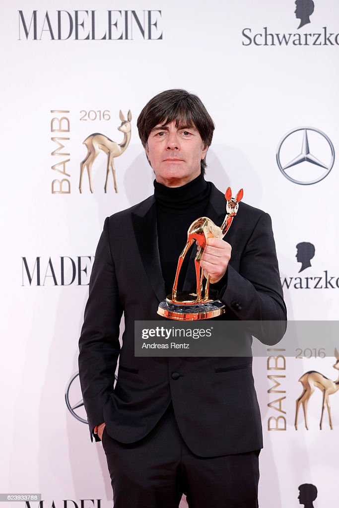 Joachim Loew poses with award at the Bambi Awards 2016 winners board at Stage Theater on November 17, 2016 in Berlin, Germany.