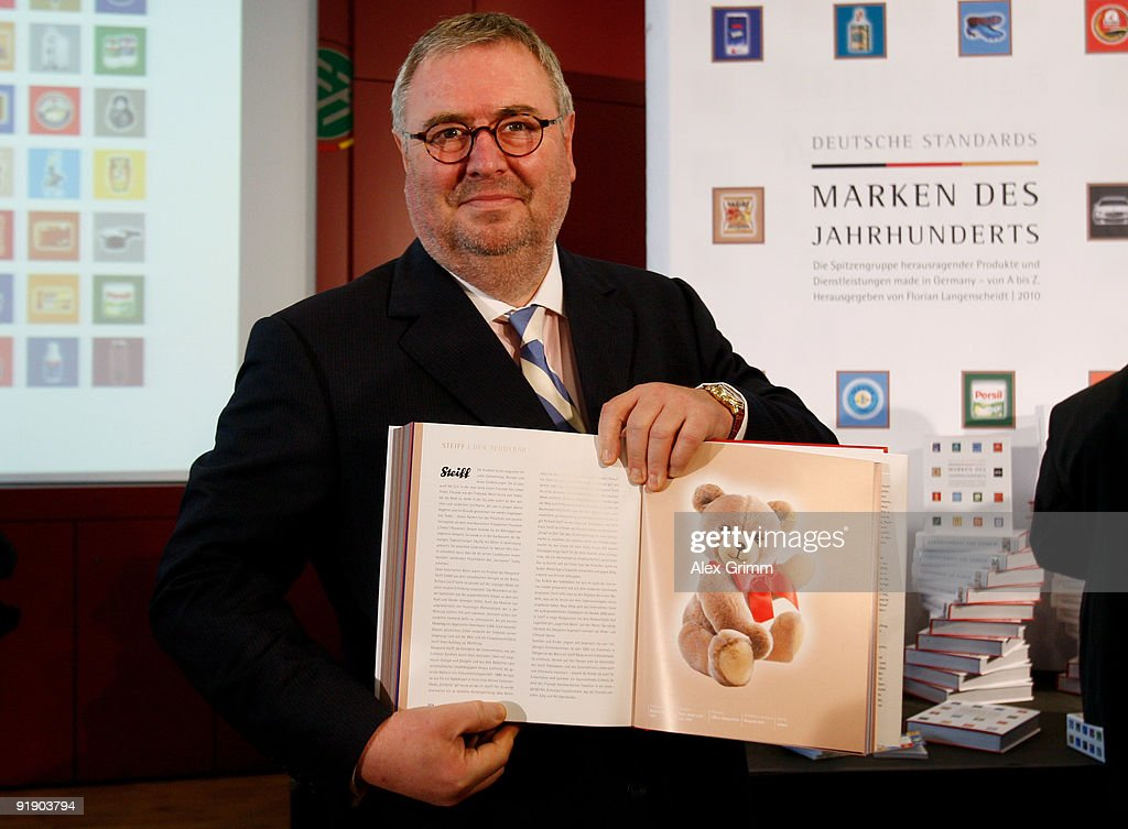 Joachim Michael Steiff associate of the Margarete Steiff GmbH poses during the presentation of the book 'German Standards Brands Of The Century' at...