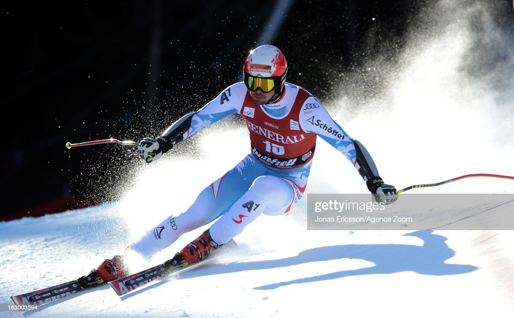 Joachim Puchner of Austria competes during the Audi FIS Alpine Ski World Cup Men's SuperG on March 3, 2013 in Kvitfjell, Norway.