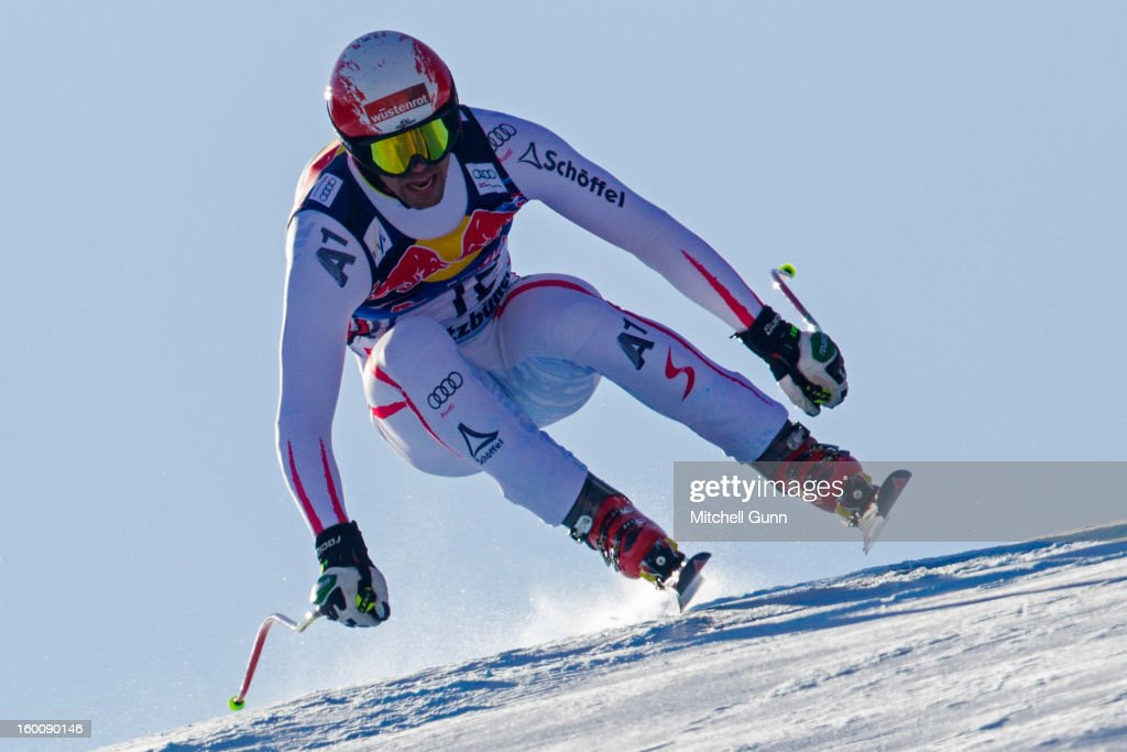 Joachim Puchner of Austria races down the Hahnenkamm course during the Audi FIS Alpine Ski World Cup Downhill on January 26, 2013 in Kitzbuhel, Austria,
