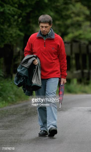 Joachim Sauer husband of German Chancellor Angela Merkel goes for a walk on August 3 2006 in Sexten Italy Merkel and Sauer are currently spending...