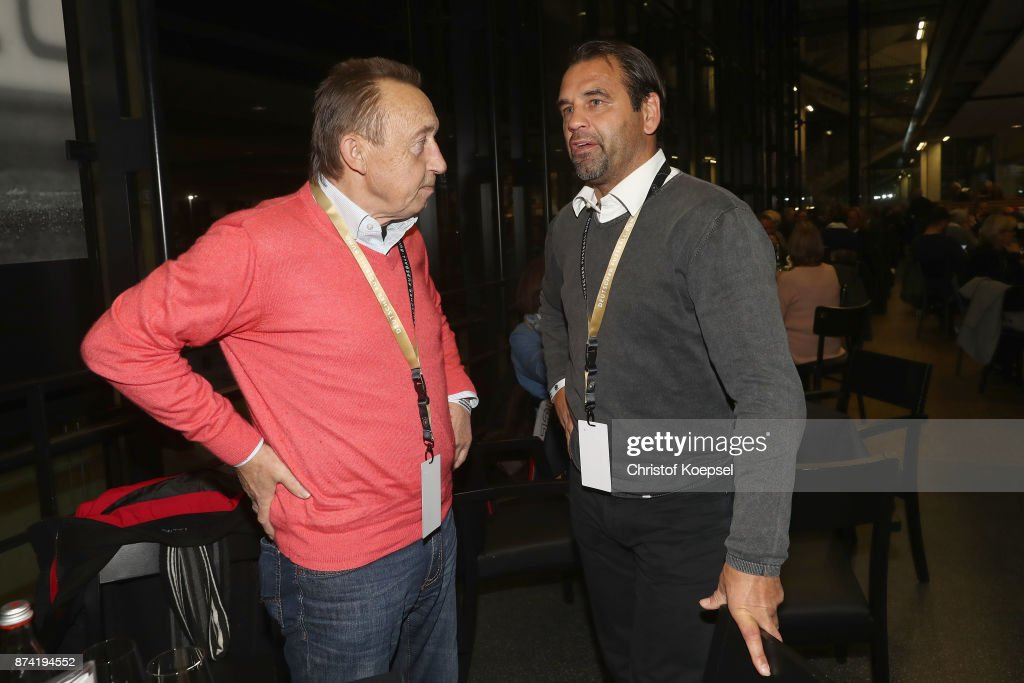 Joachim Streich and Ulf Kirsten talk during the Club Of Former National Players Meeting at RheinEnergieStadion on November 14, 2017 in Cologne, Germany.