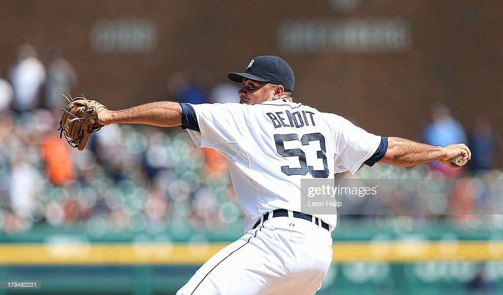 Joaguin Benoit #53 of the Detroit Tigers pitches in the ninth inning during the game against the Texas Rangers at Comerica Park on July 14, 2013 in Detroit, Michigan. The Tigers defeated the Rangers 5-0.