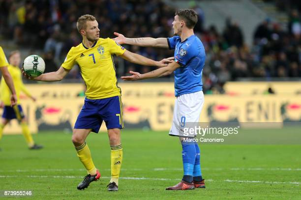 Joahn Larsson of Sweden and Andrea Belotti of Italy during the FIFA 2018 World Cup playoff Qualifier match between Italy and Sweden Aggregate result...