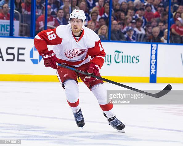 Joakim Andersson of the Detroit Red Wings against the Tampa Bay Lightning in Game One of the Eastern Conference Quarterfinals during the 2015 NHL...