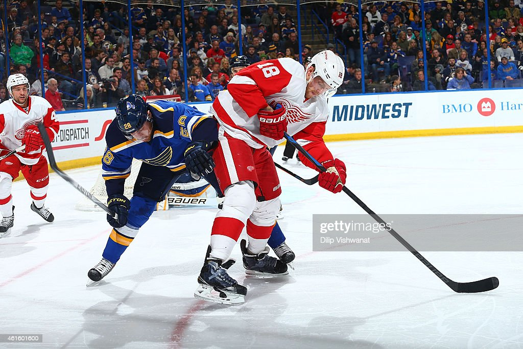 Joakim Andersson of the Detroit Red Wings and Ian Cole of the St Louis Blues fight for control of a loose puck at the Scottrade Center on January 15...