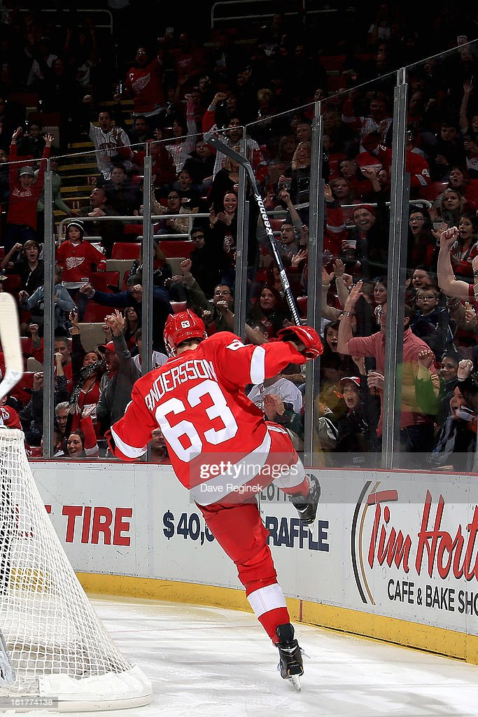 Joakim Andersson #63 of the Detroit Red Wings celebrates after scoring his first NHL goal during a game against the Anaheim Ducks and on February 15, 2013 at Joe Louis Arena in Detroit, Michigan.