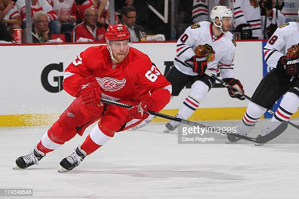 Joakim Andersson of the Detroit Red Wings follows the play against the Chicago Blackhawks during Game Four of the Western Conference Semifinals...