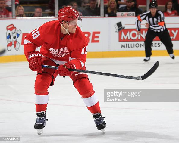 Joakim Andersson of the Detroit Red Wings follows the play against the Los Angeles Kings during a NHL game on October 31 2014 at Joe Louis Arena in...