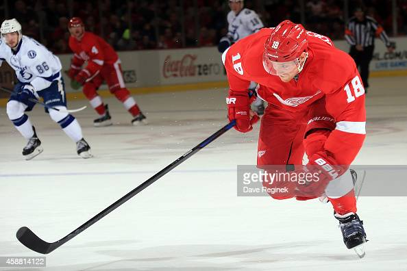 Joakim Andersson of the Detroit Red Wings follows the play against the Tampa Bay Lightning during a NHL game on November 9 2014 at Joe Louis Arena in...