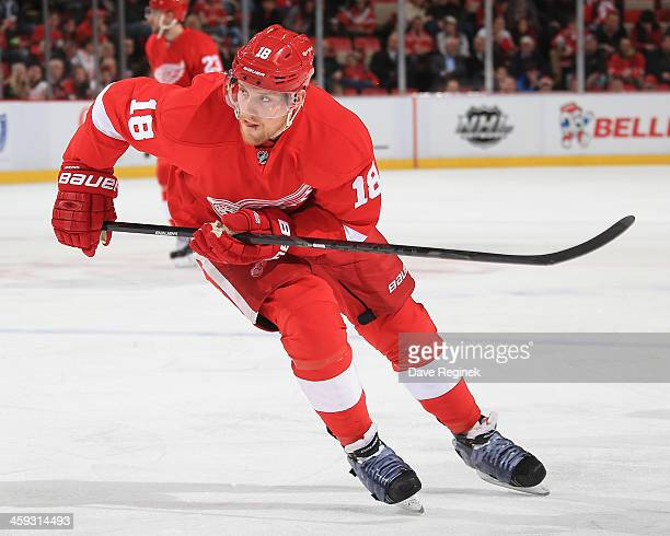Joakim Andersson of the Detroit Red Wings follows the play against the during an NHL game against the Anaheim Ducks at Joe Louis Arena on December 17...