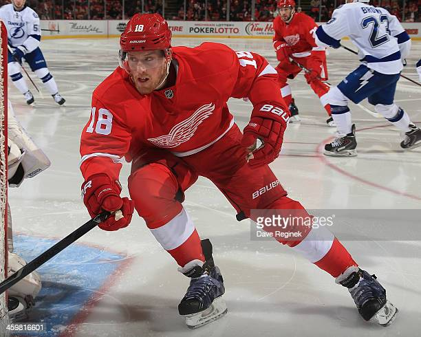 Joakim Andersson of the Detroit Red Wings follows the play against the Tampa Bay Lightning during an NHL game at Joe Louis Arena on December 15 2013...