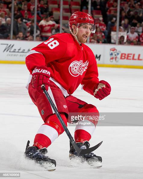 Joakim Andersson of the Detroit Red Wings follows the play during a NHL game against the Tampa Bay Lightning on March 28 2015 at Joe Louis Arena in...