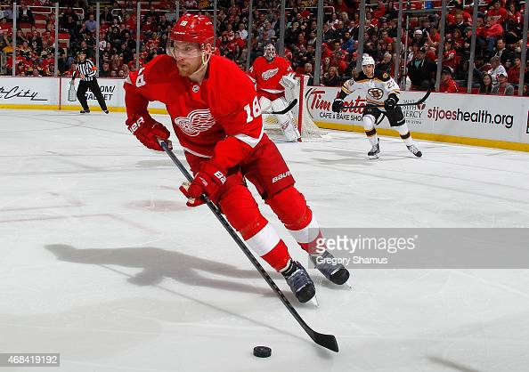 Joakim Andersson of the Detroit Red Wings heads up ice during the first period while playing the Boston Bruins at Joe Louis Arena on April 2 2015 in...