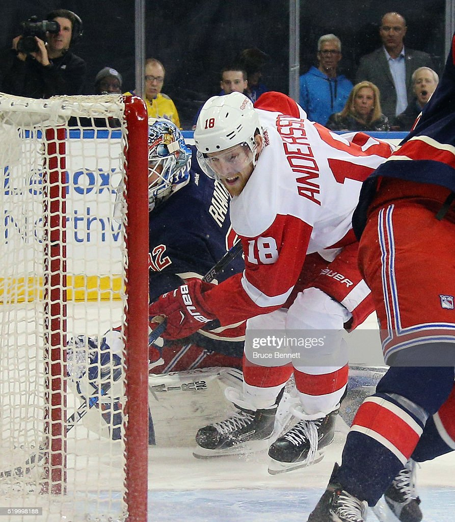Joakim Andersson of the Detroit Red Wings looks for a rebound against Antti Raanta of the New York Rangers during the first period at Madison Square...