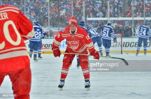 Joakim Andersson of the Detroit Red Wings looks on during warmup prior to the 2014 Bridgestone NHL Winter Classic on January 1 2014 at Michigan...