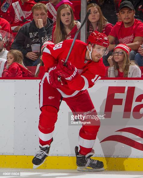 Joakim Andersson of the Detroit Red Wings passes the puck during an NHL game against the Dallas Stars at Joe Louis Arena on November 8 2015 in...