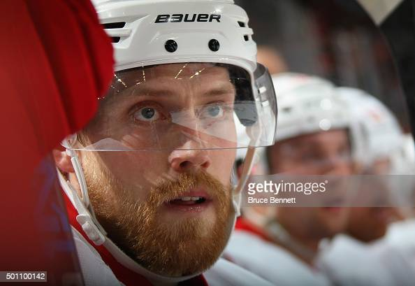 Joakim Andersson of the Detroit Red Wings plays against the New Jersey Devils at the Prudential Center on December 11 2015 in Newark New Jersey The...