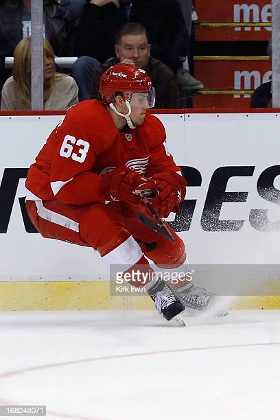 Joakim Andersson of the Detroit Red Wings skates after the puck during Game Three of the Western Conference Quarterfinals against the Anaheim Ducks...
