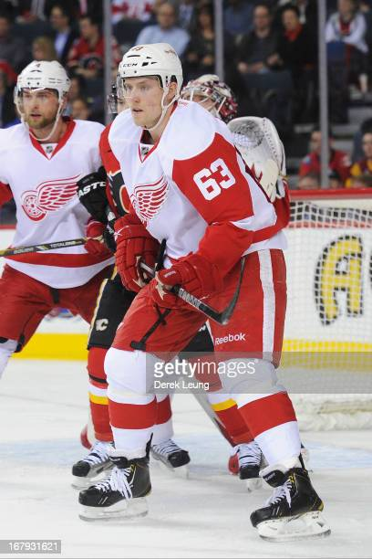 Joakim Andersson of the Detroit Red Wings skates against the Calgary Flames during an NHL game at Scotiabank Saddledome on April 17 2013 in Calgary...
