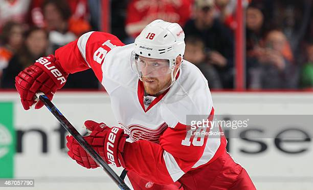 Joakim Andersson of the Detroit Red Wings skates against the Philadelphia Flyers on March 14 2015 at the Wells Fargo Center in Philadelphia...
