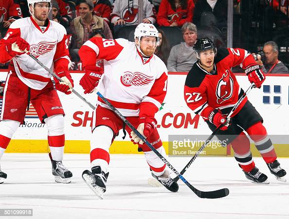 Joakim Andersson of the Detroit Red Wings skates against the New Jersey Devils at the Prudential Center on December 11 2015 in Newark New Jersey The...