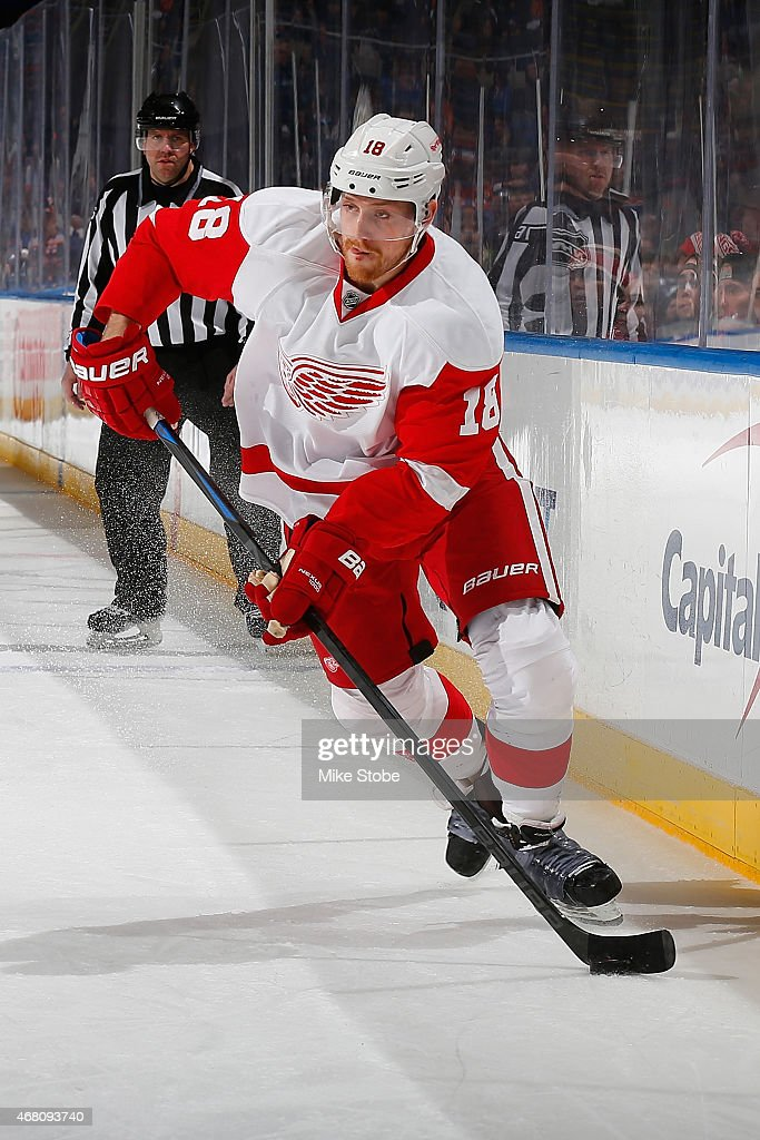 Joakim Andersson of the Detroit Red Wings skates against the New York Islanders at Nassau Veterans Memorial Coliseum on March 29 2015 in Uniondale...