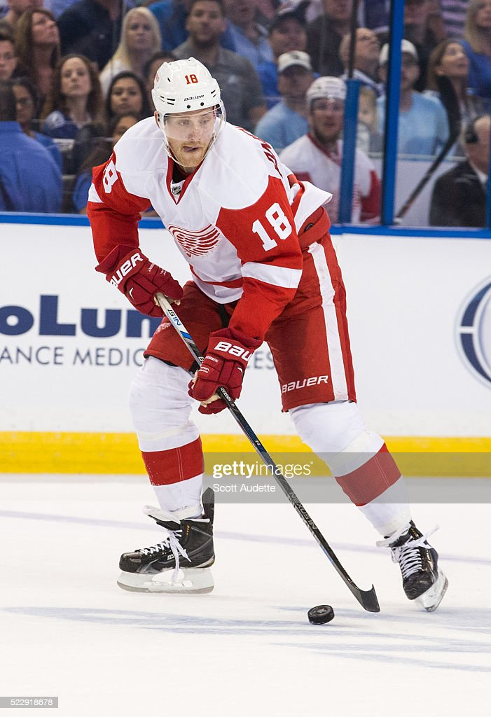 Joakim Andersson of the Detroit Red Wings skates against the Tampa Bay Lightning during Game One of the Eastern Conference Quarterfinals during the...