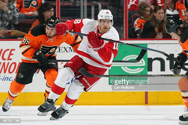 Joakim Andersson of the Detroit Red Wings skates against Zac Rinaldo of the Philadelphia Flyers on March 14 2015 at the Wells Fargo Center in...