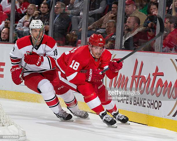Joakim Andersson of the Detroit Red Wings skates around the net in front of Jay McClement of the Carolina Hurricanes during an NHL game at Joe Louis...