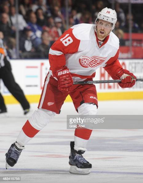 Joakim Andersson of the Detroit Red Wings skates during NHL game action against the Toronto Maple Leafs March 29 2014 at the Air Canada Centre in...